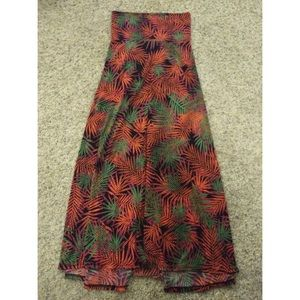 LulaRoe Maxi Skirt Multicolor Ferns